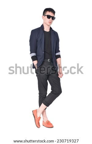 Business young man of Asian, full length portrait isolated  - stock photo