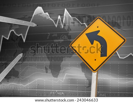 Businesses need to move forward with a traffic sign. - stock photo