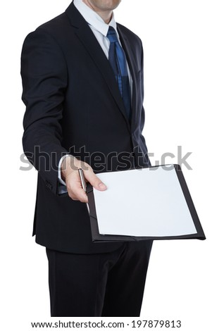 Businessman about handing an agreement paper on white background - stock photo