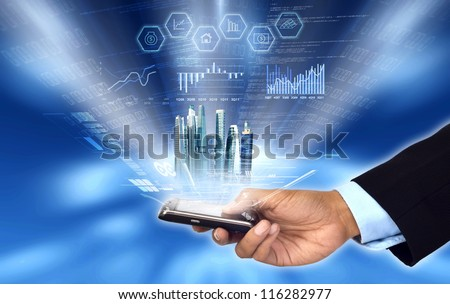 Businessman accessing and controlling his business progress and report from his smart phone - stock photo