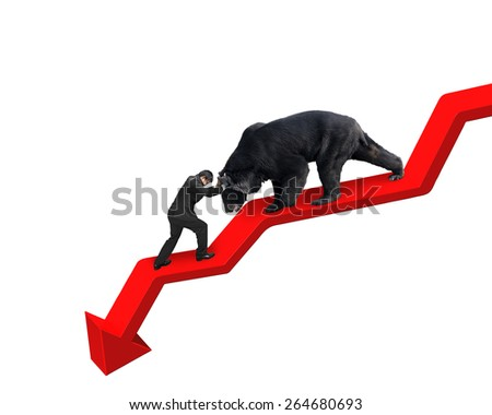 Businessman against black bear on red arrow downward trend line with white background. Fight back bearish market concept. - stock photo