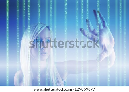 Businessman analysing source code - technology concept - stock photo