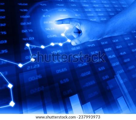 businessman analyze stock exchange chart  - stock photo