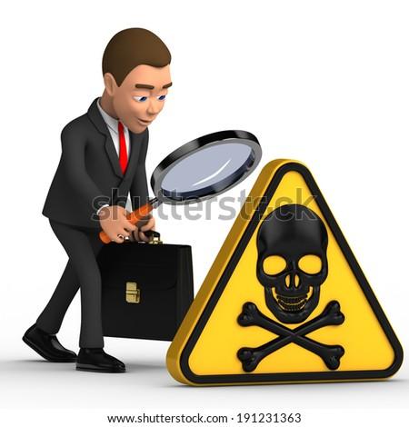 businessman analyzes danger - stock photo