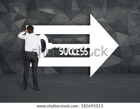 Businessman and a way to success 2 - stock photo