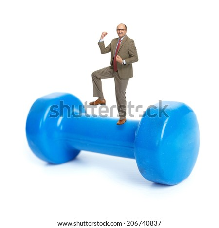 Businessman and blue dumbbells on a white background - stock photo