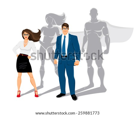 Businessman and business woman office superheroes. superman and confidence, people and business, power and shadow - stock photo