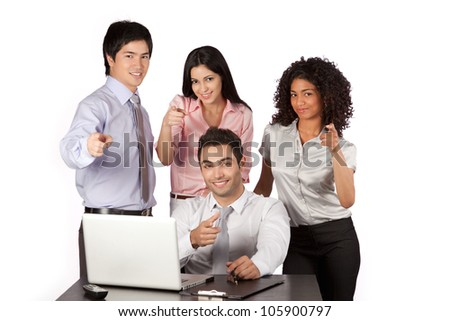 Businessman and businesswoman pointing finger at work isolated on white background. - stock photo