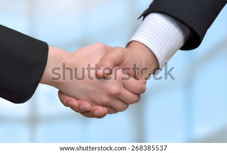 businessman and businesswoman shaking hands. - stock photo