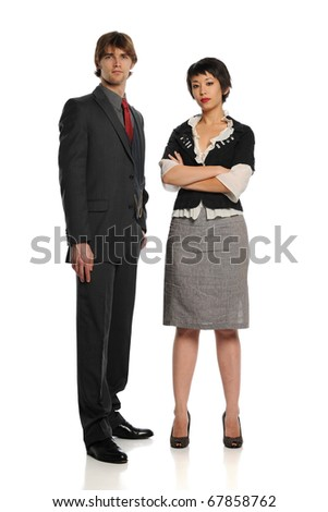 Businessman and Businesswoman standing isolated on a white background - stock photo