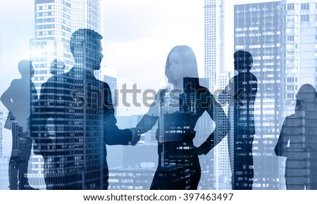 Businessman and businesswoman talking, people around, office view. Double exposure. Concept of communication. - stock photo