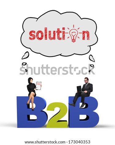 businessman and businesswoman thinking at solution - stock photo