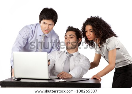 Businessman and businesswoman using laptop at work isolated on white background. - stock photo