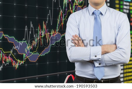 Businessman and forex chart - stock photo