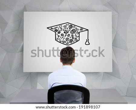 Businessman and graduation hat sketch - stock photo