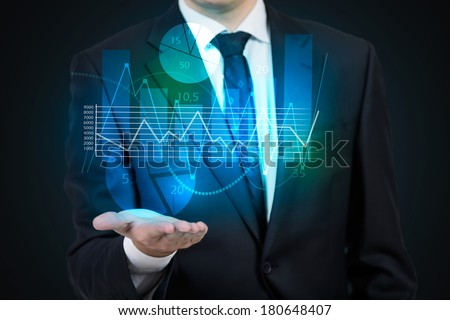 Businessman and hand projection - stock photo