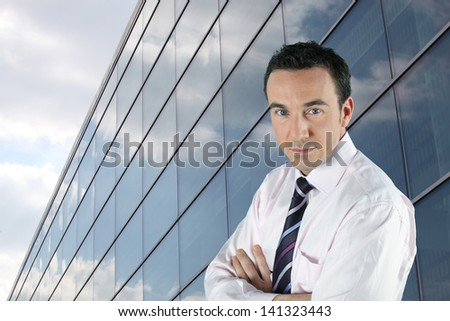 businessman and his office - stock photo