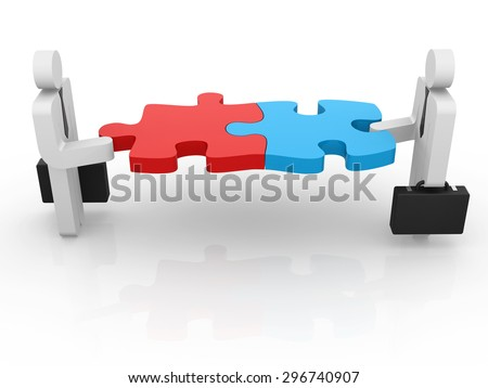 Businessman and puzzle piece , This is a computer generated and 3d rendered picture. - stock photo