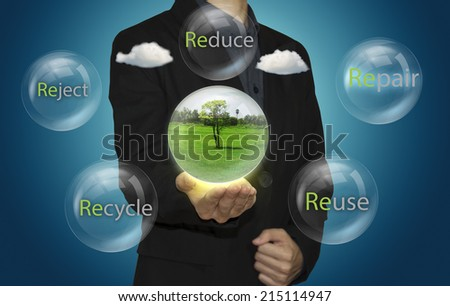 Businessman and recyclable bubbles for sustainable development.  - stock photo