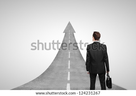 businessman and road concept  on white background - stock photo
