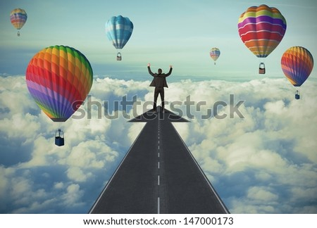 Businessman and The road to success concept - stock photo