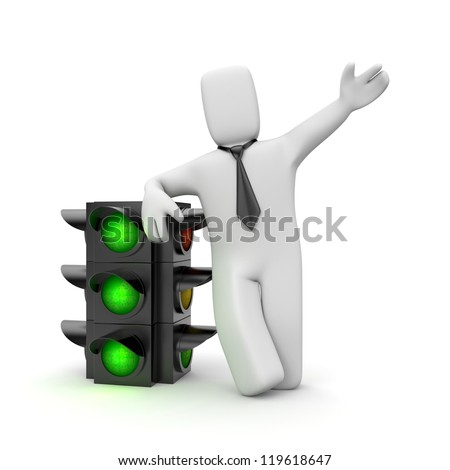 Businessman and traffic light. Green light for business - stock photo