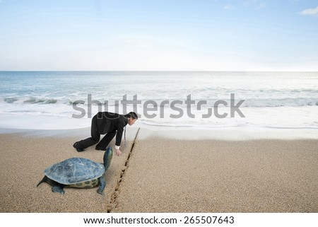 Businessman and turtle are ready to race on sand beach with natural sea background. Turtle race competing metaphor concept. - stock photo