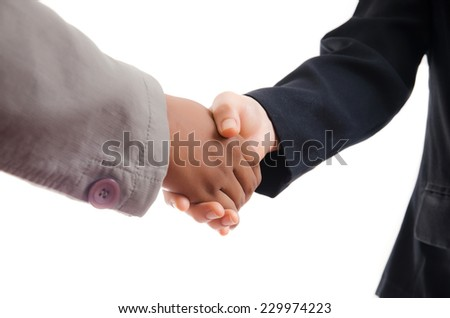 Businessman and Woman Giving a Handshake, isolated on the white background. - stock photo