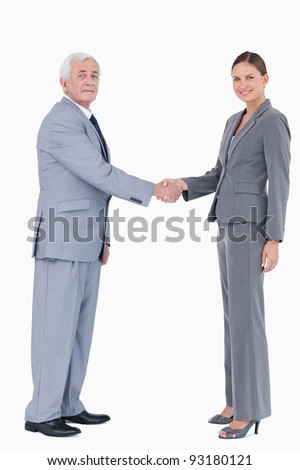 Businessman and woman shaking hands against a white background - stock photo