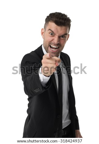 Businessman angry and disappointed portrait isolated on white background  - stock photo