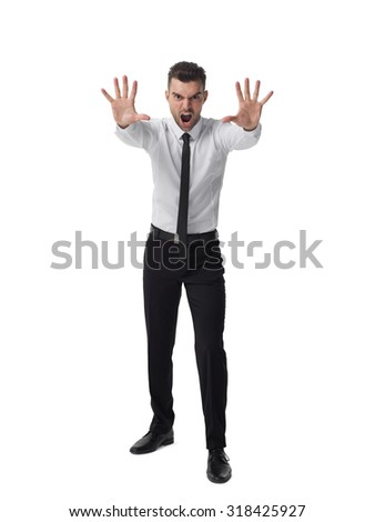 Businessman angry portrait isolated on white background  - stock photo