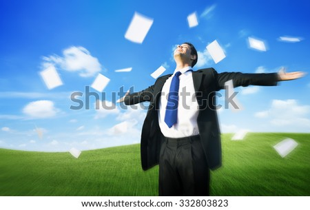 Businessman Arms Outstretched Getaway Freedom Flying Paper Concept - stock photo