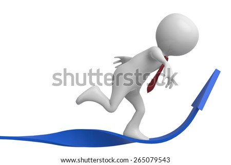 businessman arrow up side view - stock photo