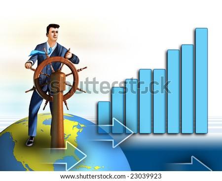 Businessman as a symbol of economical growth. Digital illustration. - stock photo