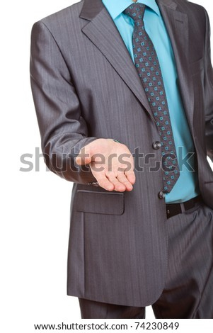 Businessman asking for money, man in blue suit lending a helping hand, isolated on white background - stock photo