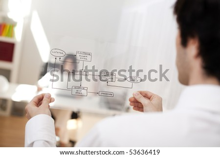 Businessman at his office showing a online order schema (selective focus with shallow DOF). - stock photo