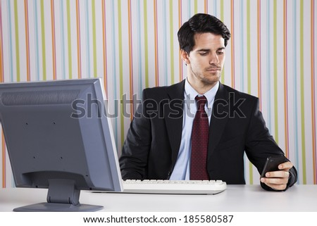 Businessman at the office working - stock photo