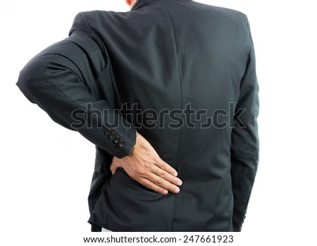 Businessman backache isolate on over white background - stock photo