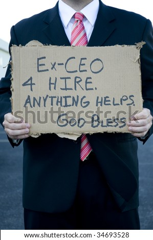 Businessman begging for a job. - stock photo