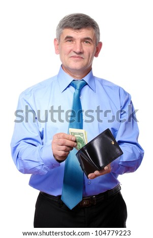 businessman believes the money isolated on white - stock photo