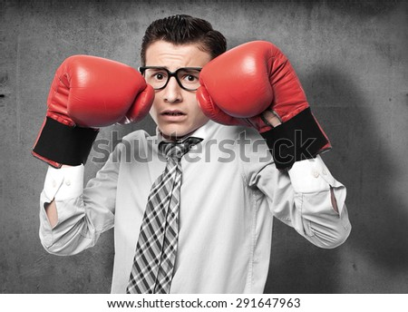 businessman boxing - stock photo