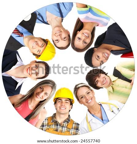 Businessman, business woman, builder, nurse, architect, student. Over white background - stock photo