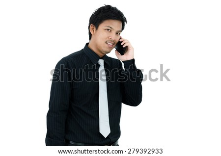 Businessman calling a telephone over white background - stock photo