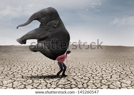 Businessman carry elephant by himself on dry ground as leadership concept - stock photo