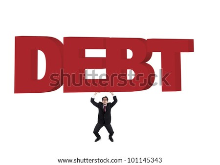 Businessman carrying a huge and heavy sign of debt. Shot in studio isolated on white - stock photo