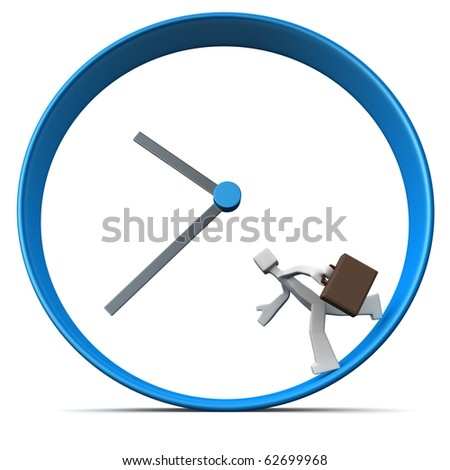 Businessman carrying briefcase rush for work run around a clock 3d illustration - stock photo