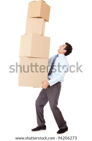 Businessman carrying heavy boxes - isolated over a white background - stock photo