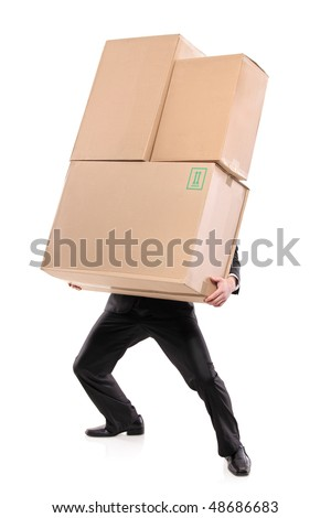 Businessman carrying paper boxes isolated on white background - stock photo