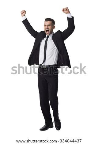 Businessman celebrating success Full Length Portrait isolated on White Background - stock photo