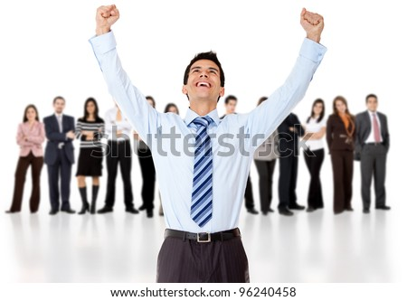 Businessman celebrating with arms up with his group - isolated over a white background - stock photo